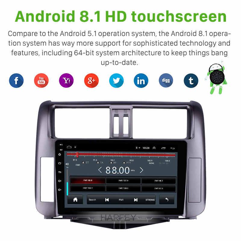Harfey 9 インチのアンドロイド 8.1 トヨタプラド 150 2010-2013 ラジオ GPS システム 1024*600 タッチスクリーン bluetooth 音楽サポート DVR