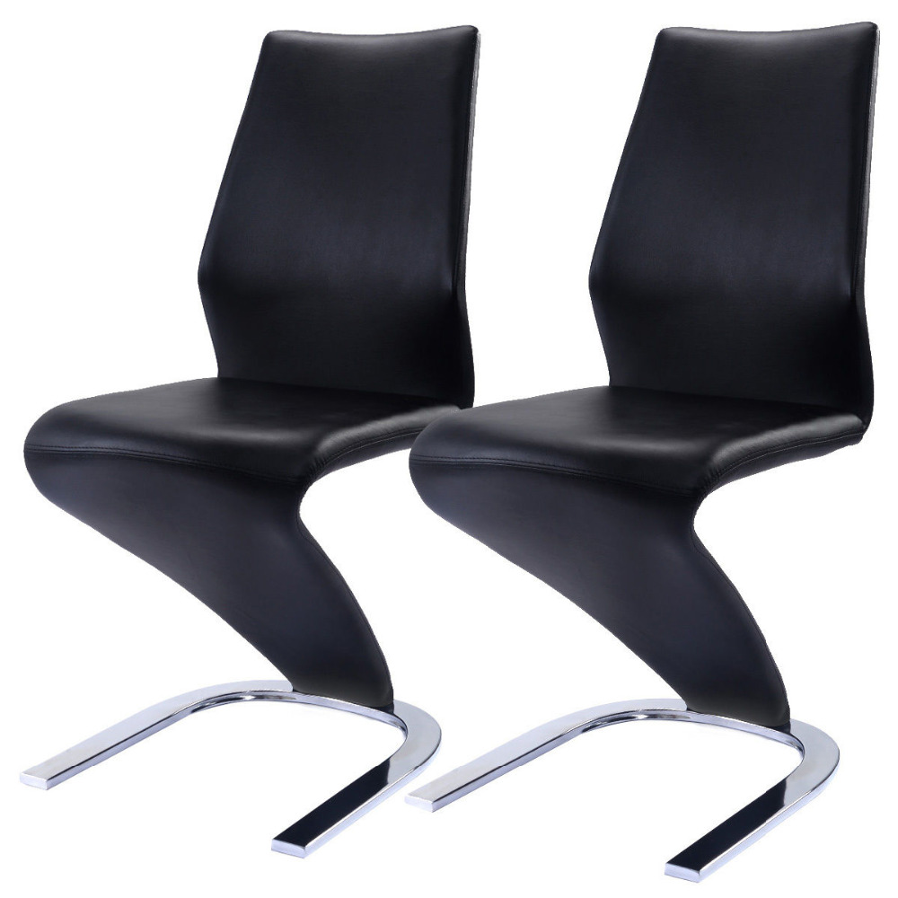 2 Pcs Dining Chairs PU Leather High Back Furniture Home Dining Room HW51948 new stylish leather dining chairs  solid