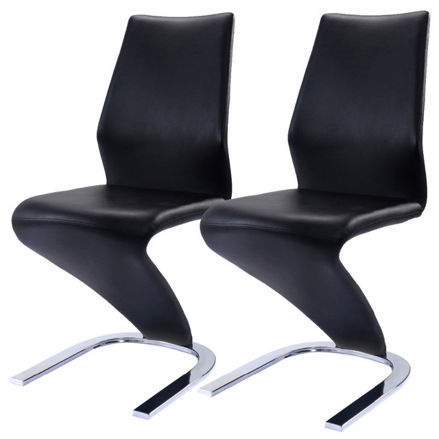 2 Pcs Dining Chairs Pu Leather High Back Furniture Home Room Hw59086