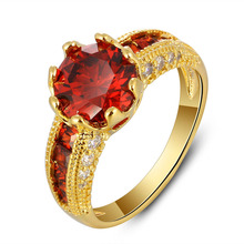 Sue Phil Luxurious Red Zircon Women Rings Fashion Jewelry Accessories Rings For Party Brass Charming Rings Drop Shipping