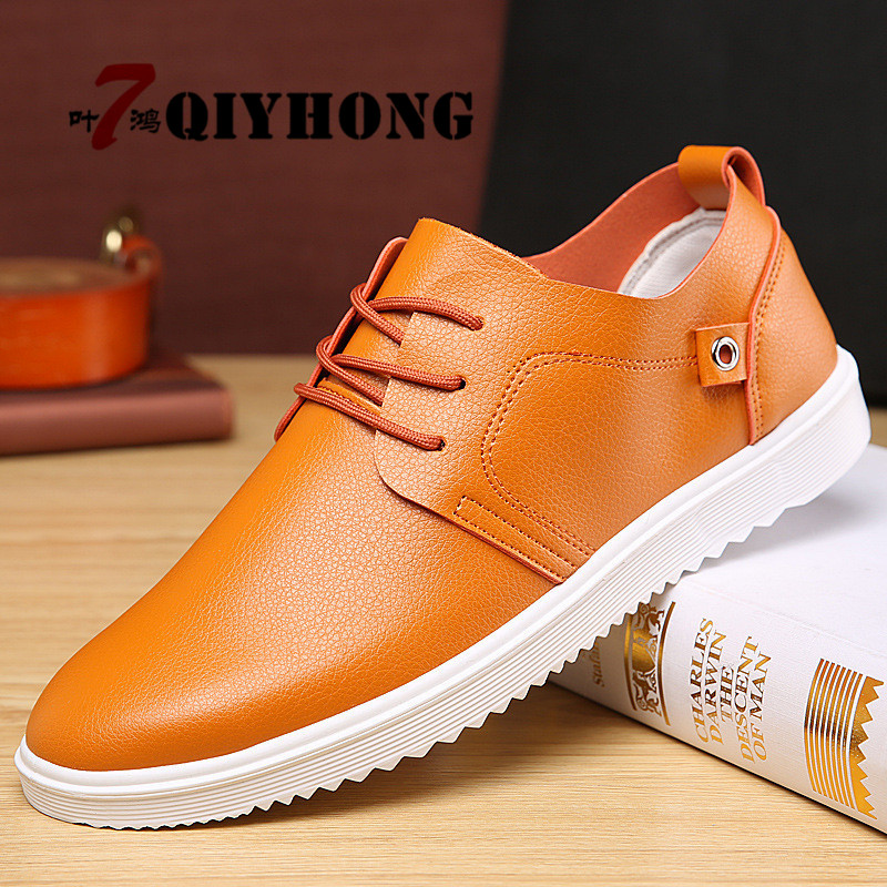 QIYHONG New Hot Sale Men Flats Shoes Fashion New 2018 Brand Casual Shoes Male Plus Size Comfortable Men Shoes Orange Big Promoti genuine leather men casual shoes plus size comfortable flats shoes fashion walking men shoes