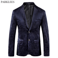 Black Paisley Rose Print Velvet Blazer Men Slim Fit Single Breasted Suit Blazer Jacket Men Business Wedding Party Prom Blazers
