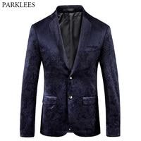 Black Paisley Rose Print Velvet Blazer Men Slim Fit Single Breasted Suit Blazer Jacket Men Business Wedding Party Prom Blazers
