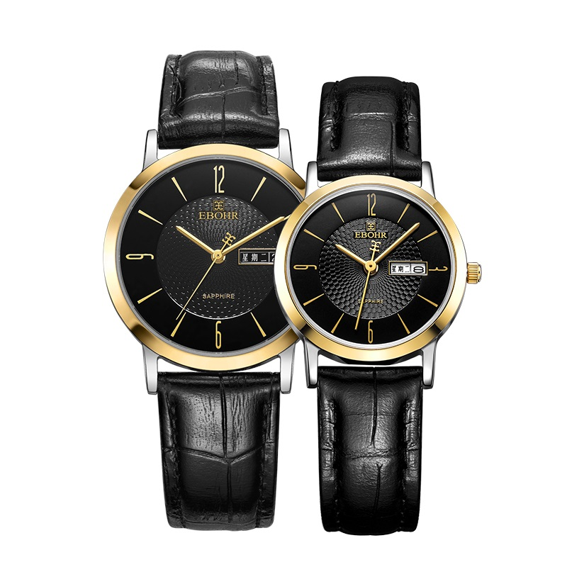 EBOHR Couple Belt Quartz Watch Round Double Calendar Retro Casual Men's Watch Women's Watch 10450734