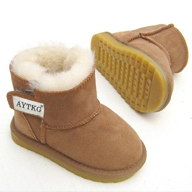 Kış Avustralya Bebek Kız Kar Botları Sıcak Koyun Derisi Deri Kürk Bebek Botas Su Geçirmez Bebek Önyükleme Erkek Bootie Ayakkabı Olmayan kaymaz
