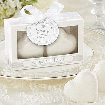"DHL wedding favor ceramic Favors ""A Dash of Love"" Ceramic Heart Salt & Pepper Shakers party favor gift 100pcs/lot"