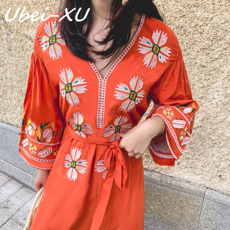 Ubei New retro national style loose dress large sleeve embroidery orange show thin V-collar holiday long