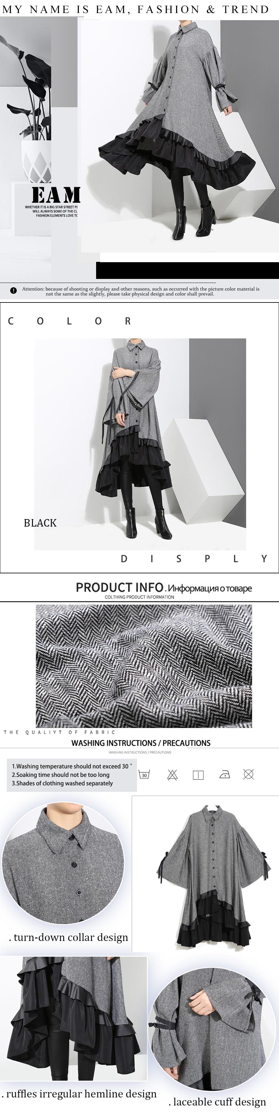 HTB1SeEtAA9WBuNjSspeq6yz5VXaT - [EAM] 2019 New Spring Lapel Long Sleeve  Bandage Solid Color Gray Big Hem Irregular Loose Dress Women Fashion Tide JD717
