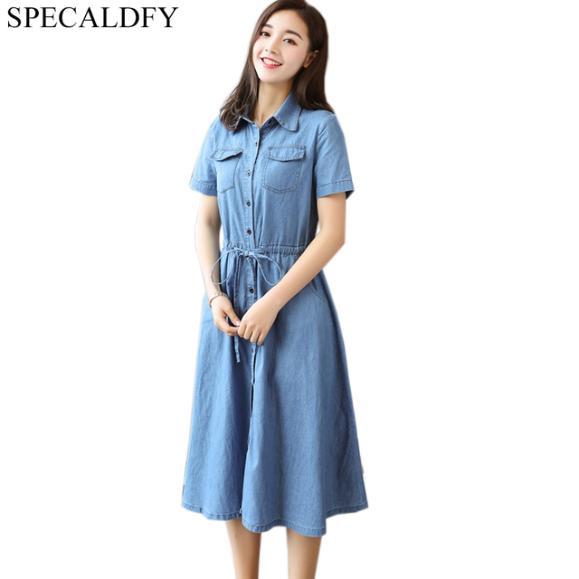 a9b03473293 Summer Denim Dress Women Short Sleeve Vintage Casual Shirt Dress Vestido  Jeans Dresses Button Plus Size Robe Femme Ete 2018