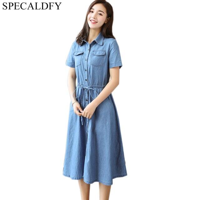 3200993992b Été Denim Robe femmes à manches courtes décontracté chemise Robe Vestido Jeans  robes bouton grande taille