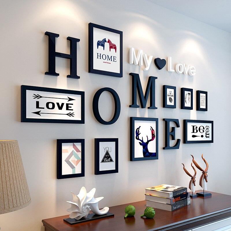 Mur de cadre Photo Vintage noir blanc de Style européen 9 pièces/ensemble, ensembles de cadre Photo en bois de famille, cadres Photo ronds pour peintures