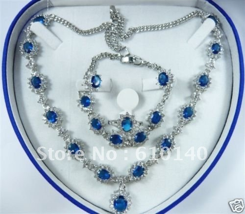 2 шт. благородный синий Ювелирные изделия из кристаллов Цепочки и ожерелья Браслет Серьги ring8