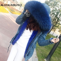 2017 Winter Jacket Women Coat Real Fur Parka Natural Raccoon Fur Collar Hooded Female Thick Warm Fur Outwear Brand Quality