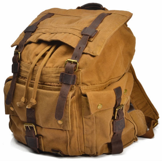 Vintage Leather Military Canvas travel Backpacks Men  Women School Backpacks  men Travel bag big Canvas Backpack d01ce44870a36