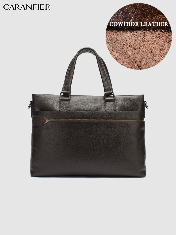 CARANFIER Mens Laptop Bags Briefcase Business Travel Soft Handle Handbags Genuine Cowhide Leather Solid Zipper Messenger Bags