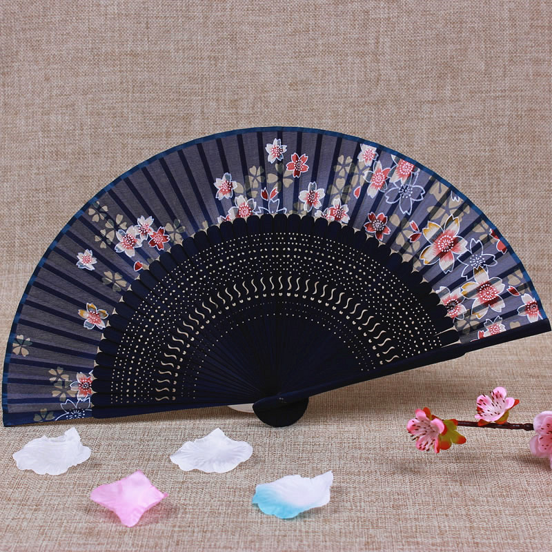 Cherry blossoms Portable Japanese Hand Fan Chinese Folding Silk Fan Traditional Craft Openwork Bamboo Ladies Fans for Weddings