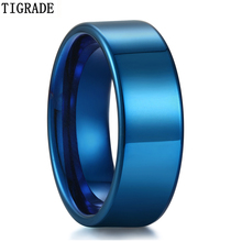 Tigrade 8mm High Polished Tungsten Carbide Rings Men Wedding Male Engagement Ring Masculine Anels