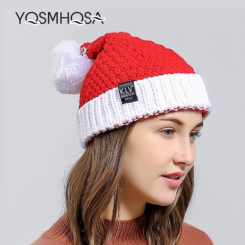 Pompom Beanie Christmas Gift Winter Hats for Women Bonnet Knitting Winter Cap Girls Pom Pom Hats Women'S Skullies Beanies WH749