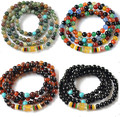 Mantra prayer beads bracelets natural agate gem beads 6mm multi layer wristband bracelets for women fashion jewelry gifts 0333