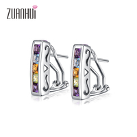 Colorful Christmas Gift Genuine 925 sterling silver earrings for women Multi Topaz rainbow Clip Style