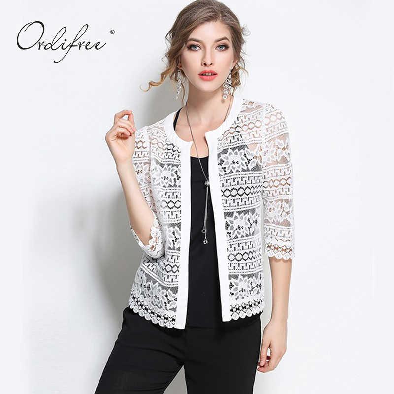 Женская белая кружевная блузка, черный кардиган с вязаным крючком, размеры 5XL 4XL XXXL, лето 2020