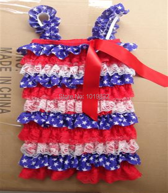 cf1eacd1a73c Baby 4th Of July Rompers Newborn Baby Soft Lace Petti Rompers Baby Girl  Patriotic Day Romper Jumpsuit Baby Girl