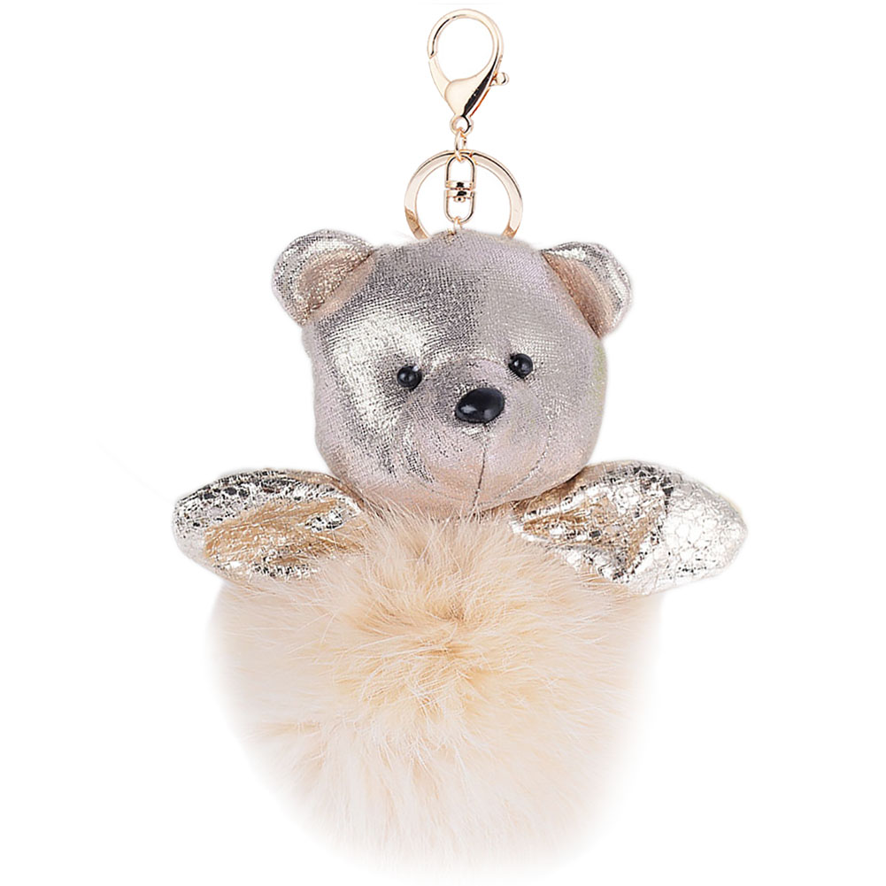 1PC Stylish Fashion Ladies Girls Fluffy Lovely Bear Plush Pompom Ball Hand Bag Pendant Keyring Key Chain
