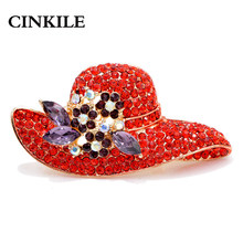 CINKILE Rhinestone Hat Brooches for Women Summer Winter Corsage Coat Sweater Accessories Red Color New Fashion metal broches(China)