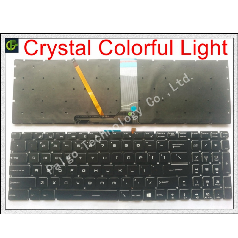 New English Crystal RGB backlit colorful Keyboard for  MSI GE63 GE63VR GE73 GE73VR GP72MVR GP72VR GP62M GV72 gl65m GV72VR US Replacement Keyboards     - title=