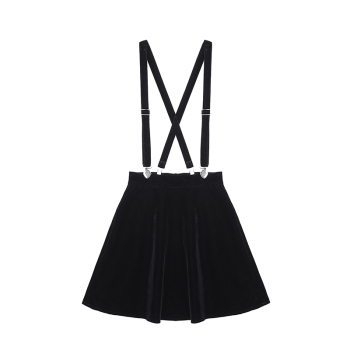 Women'S Skirt Harajuku Velvet Punk Love Clip Strap Skirt For Female Ladies Mini Skirts Black 1