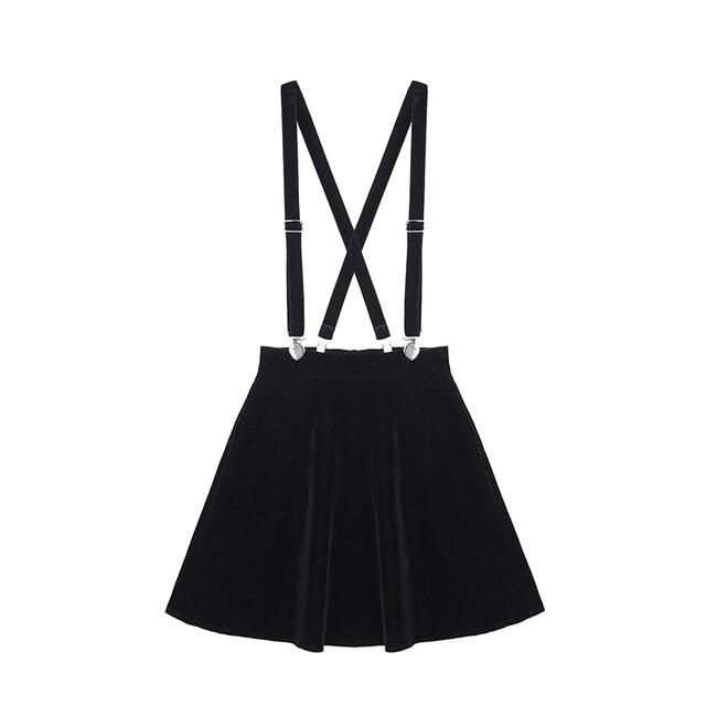 Women'S Skirt Harajuku Velvet Punk Love Clip Strap Skirt For Female Ladies Mini Skirts Black 1