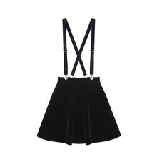 Women S Skirt Harajuku Velvet Punk Love Clip Strap Skirt For Female Ladies Mini Skirts Black