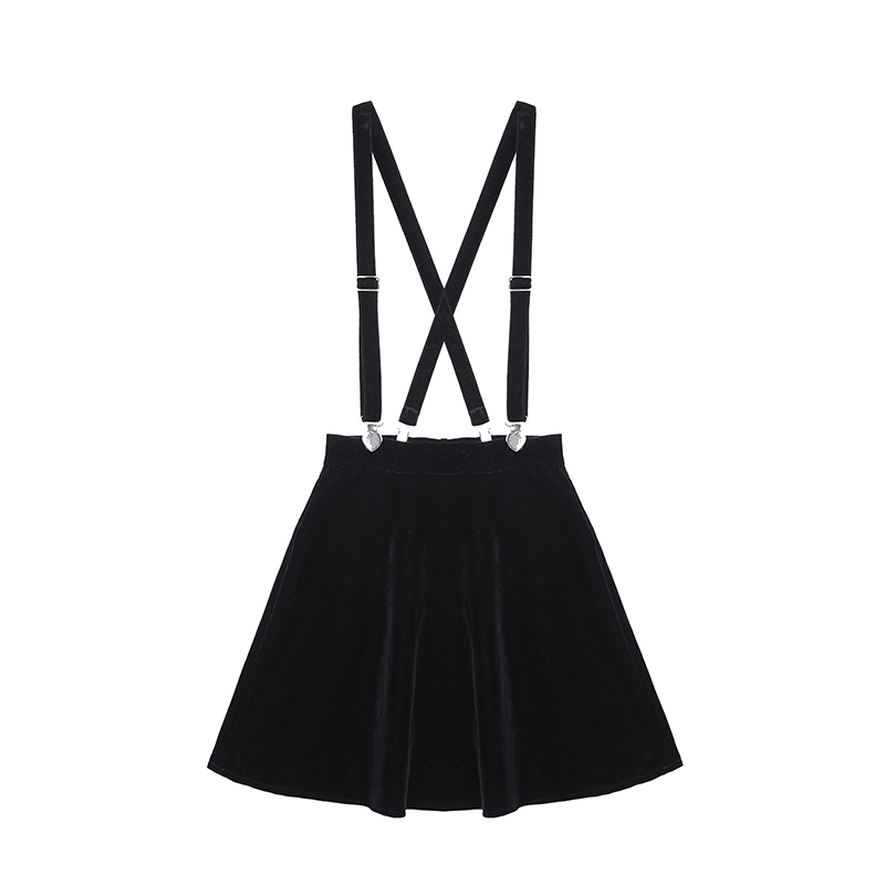 Women'S Skirt Harajuku Velvet Punk Love Clip Strap Skirt For Female Ladies Mini Skirts Black