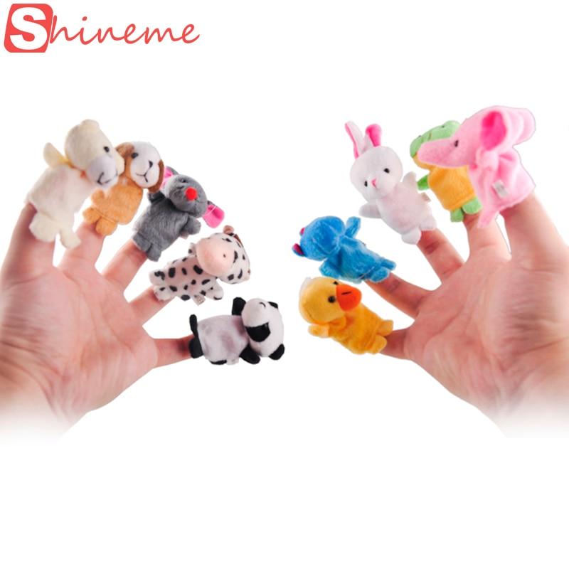 10 stks / partij kerst mini pluche baby speelgoed dier familie vingerpoppetjes set vis australië prinses bug jongens meisjes vingerpoppetjes