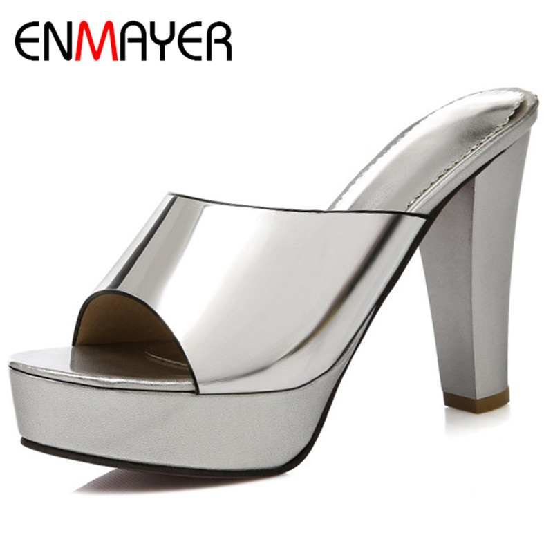 ENMAYER Summer Casual Women Sandals Pumps Shoes Peep Toe Spike Heels Platform Large Size 34-43 Black Golden Silver enmayer summer women pumps shoes mixed colors peep toe slip on thin heels platform large size 34 47 red pink green brown