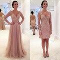 2016 новое поступление оптово-элегантный кружева V шеи тюль длиной до пола / короткие кружевные аппликации с длинными рукавами вечернее платье