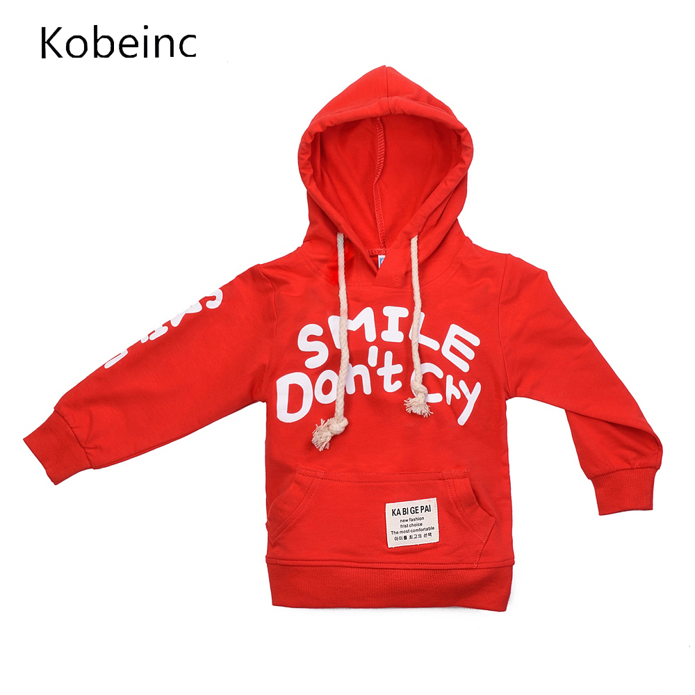 New Fashion Kids Hooded Sweatshirt Smile Don't Cry Baby Unisex Top Spring Casual Pullover Sweatshirt Sudaderas Big Pocket Outfit