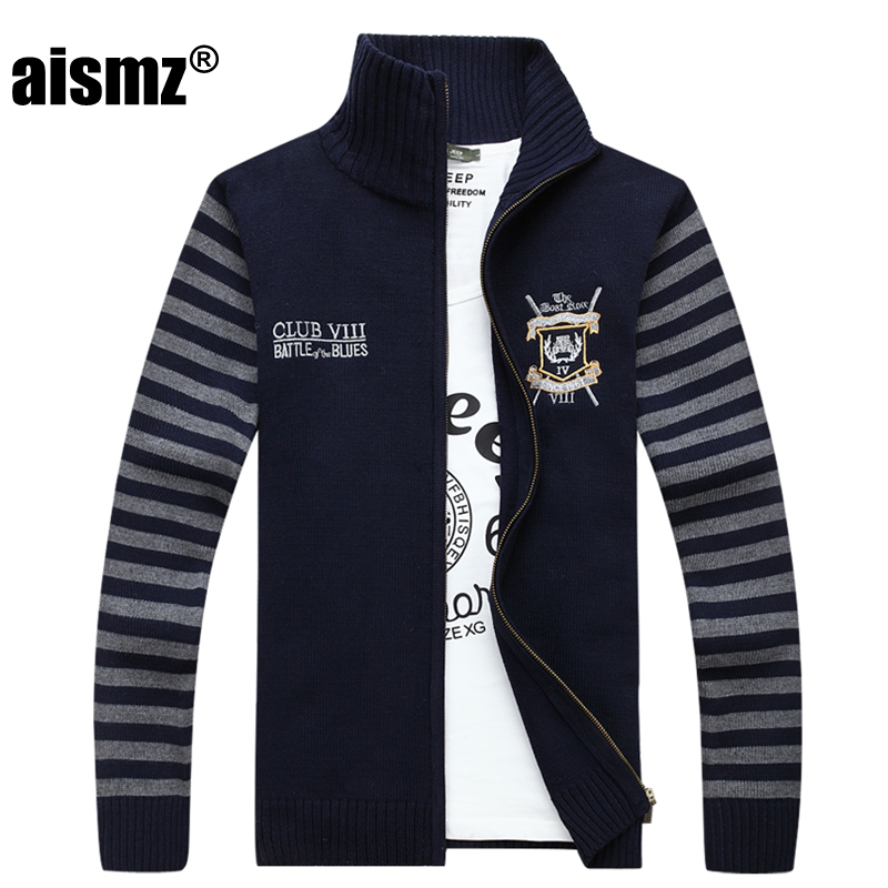 Aismz New Autumn Winter Men Sweater Fashion Striped Embroidery Christmas Sweater Coat Jacket Brand-clothing Casual Male Cardigan