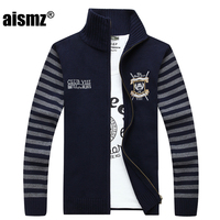 Aismz New Autumn Winter Men Sweater Fashion Striped Embroidery Christmas Sweater Coat Jacket Brand clothing Casual Male Cardigan
