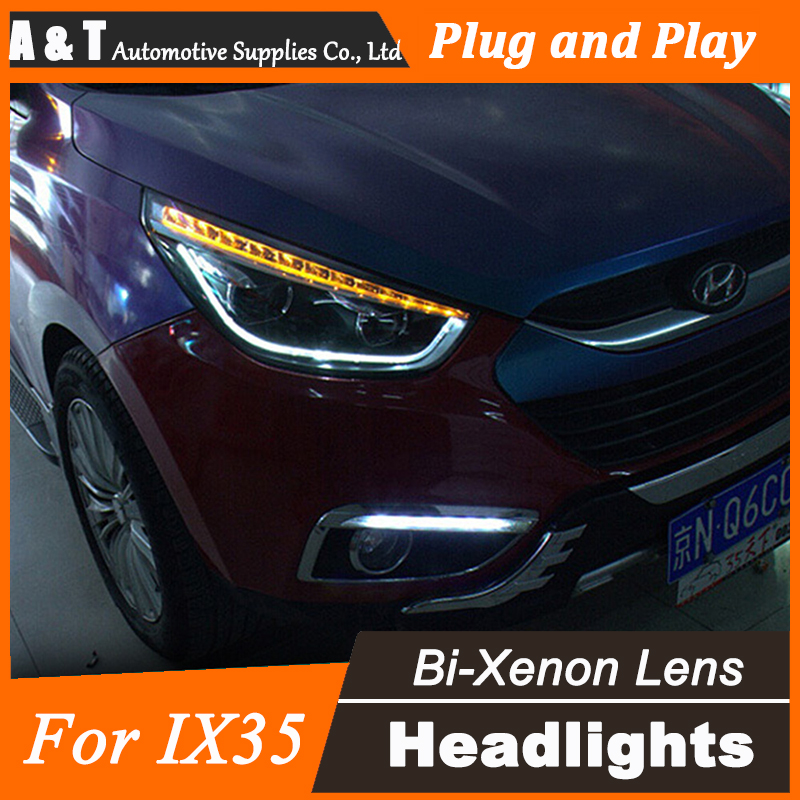 Car Styling for Hyundai IX35 Headlight assembly New Tuscon LED Headlight DRL Lens Double Beam H7 with hid kit 2pcs. hireno headlamp for peugeot 4008 5008 headlight headlight assembly led drl angel lens double beam hid xenon 2pcs