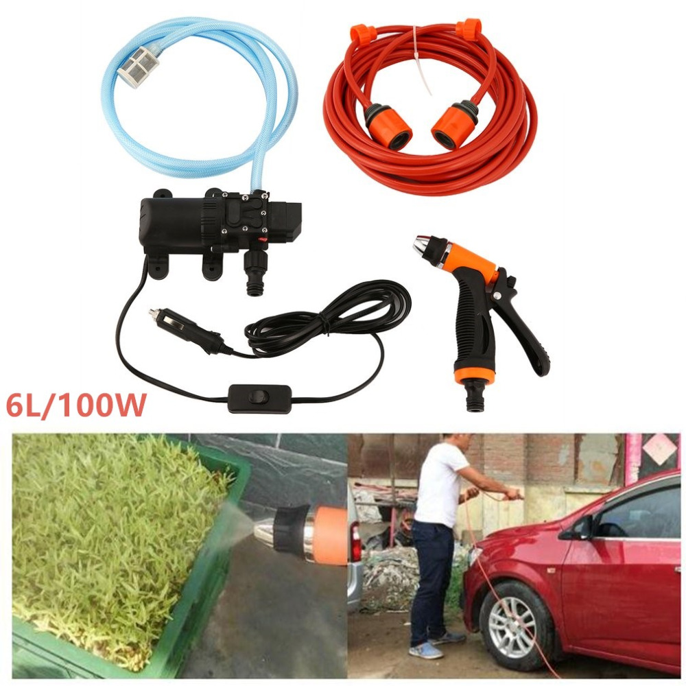 100W 160PSI 12V 6L High Pressure Car Auto Electric Washer Water Gun Pump Hose Kit