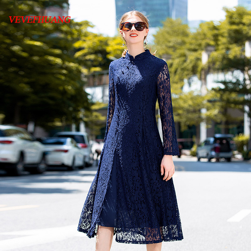 VEVEFHUANG Chinese Style 2018 Autumn New Superior Office Lady Lace Dress Women Vintage Long Sleeves Cheongsam Party Dresses