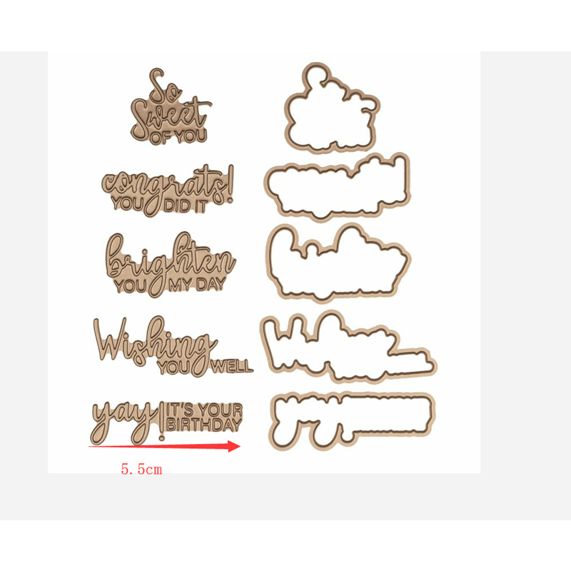 Flower Word Phrase Hot Foil Plate Metal Cutting Dies Stencils DIY Scrapbooking