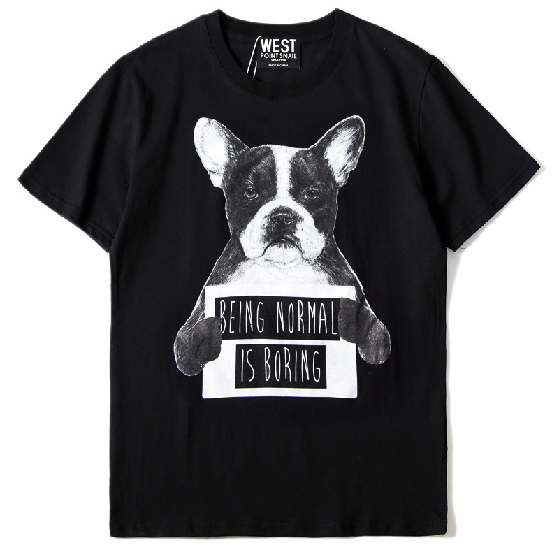 New Novelty 2019 Men Being normal is <font><b>boring</b></font> dog <font><b>T</b></font> <font><b>Shirts</b></font> <font><b>T</b></font>-<font><b>Shirt</b></font> Hip Hop Skateboard Street Cotton <font><b>T</b></font>-<font><b>Shirts</b></font> Tee Top Kenye #17 image
