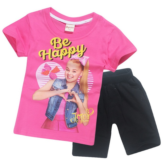 26012dd5787a 4 15 Years 2018 Summer Jojo Siwa Baby Pajamas for Girls Short Sleeve ...