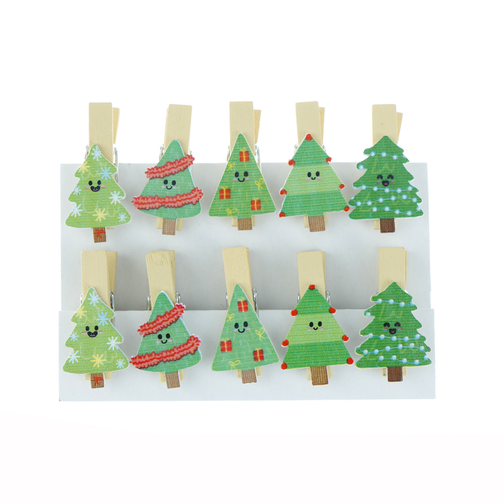 10pcs/lot Lovely Christmas Tree Wooden Clip Photo Paper Clothespin Clip With Hemp Rope