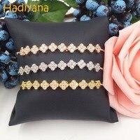 Hadiyana Monica Design AAA Cubic Zirconia 3pcs Trendy Adjustable Bracelet Copper Base With 3 Tone Color