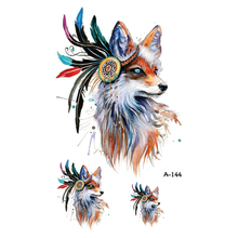 Wyuen New Design Red Fox Fake Tattoo Waterproof Temporary Arm Tatoo Stickers for Women Men Body Art Tattoos A-144
