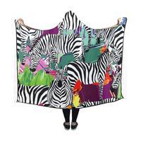 Portable Wearable Fluffy Custom Hooded Blanket Woods Black And White Tropic Zebra Wearable Blanket Hooded Throw Wrap Bed Blanket