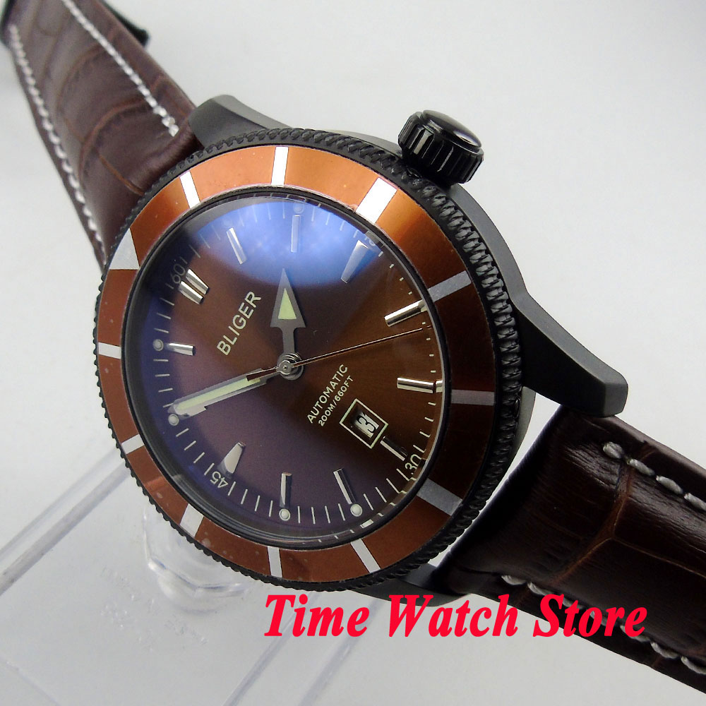 Bliger 46mm brown dial date window luminous deployant clasp Black PVD case Automatic movement men's watch BL119 bliger 46mm white sterial dial date green bezel luminous black pvd case deployant clasp automatic men s watch 504